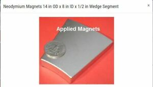 "32 Huge Wind Generator Neodymium Wedge Magnets, N42 1/2""think,3"" long"