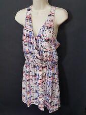 NWOT $255 Parker Silk Red White Blue Surplice Racerback Dress Sz M