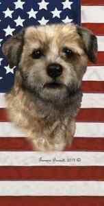Border Terrier Patriotic Beach Towel