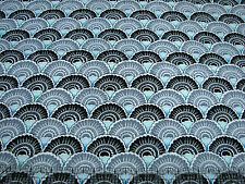 3 Yards Quilt Cotton Fabric - Quilting Treasures Cozumel Black & Gray Scallops