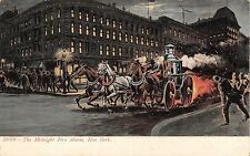 c.1905 Midnight Fire Alarm Steamer Rushing to Fire Manhattan NY post card