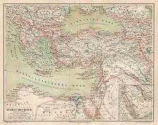 B6032 Turkish Empire - Carta geografica antica del 1890 - Old map