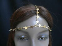 WOMEN GOLD METAL TRENDY STARS HEAD CHAIN GRECIAN CIRCLET FASHION JEWELRY 70'S