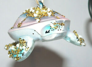 Pottery Barn Mercury Glass Under the Sea Ornaments Sea Turtle Glitter Beads NIB