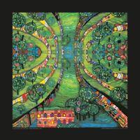 Hundertwasser Bild - Grüne Stadt Poster Kunstdruck mit Folienprägung - 48x48 cm