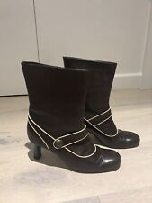 MARNI Brown Leather Ankle Boots Size 39.5 UK 6.5 Great Condition