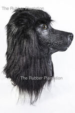 Black Poodle Dog Mask Latex Overhead Animal Fancy Dress Canine Costume Pet