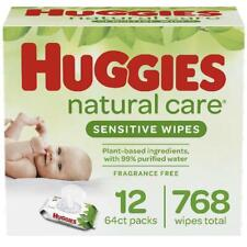 Huggies Natural Care Sensitive Baby Wipes, Unscented, 12 Flip-Top Packs (768 Wip