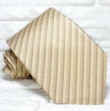 Cravatta Jacquard uomo beige 100% seta Nuova Made in Italy marca TRE