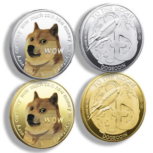 2 x Gold Silver Plated Dogecoin Coins Commemorative 2021 New Collectors Doge