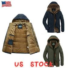 MEN WINTER THICK COAT HOODED JACKET FUR LINED WARM MILITARY JACKET PARKA OUTWEAR