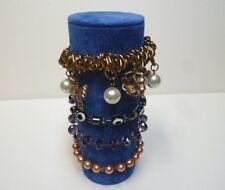 Bracelet jewellery display roll for elasticated bracelets (Summer Blue)