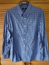 Blue Harbour Mens Long Sleeved Blue Checked Shirt 100% Cotton Large