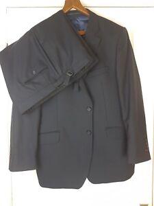 ALFRED BROWN / Leonard Jay Men's Black Pinstriped Suit Size 48 / 43 SHORT
