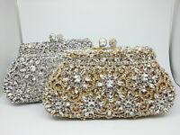 Crystal Flower Clutch Women Evening Minaudiere Bag Bridal Handbag Wedding Purse