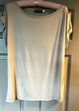 NEW : Mint Velvet Womens  Sleeveless Beige Shimmer Top UK M (12/14) Epaulettes