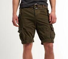 "NWT Core Heavy By Superdry Cargo Khaki (dk army green) Shorts w/belts M W 32"""