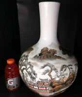 """FAKE"" 19"" ""Qianlong"" *QING 16"" ANTIQUE Vintage Chinese Porcelain Bud Vase House"
