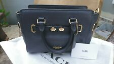 NEW Coach Dark Blue Small Satchel Leather Crossbody Bag
