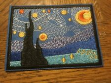Starry Night Embroidered Iron on Patch Applique 3.75�x2.75� Van Gogh
