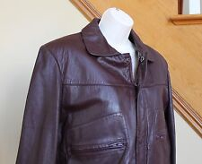 Vintage Burgundy LEATHER Motorcycle JACKET Wilsons w/ Lining Coat Sz 38 S M Men