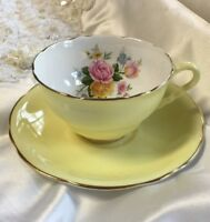 Royal Stafford Vintage Yellow Floral Teacup and Saucer Pattern #2007