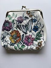 Ladies Women's Faux Leather Floral Butterfly White Vintage Coin Hasp Purse