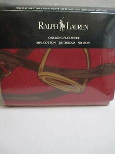 RARE Vintage New Ralph Lauren ELLIOT Equestrian Red Cream Plaid Flat Sheet- King
