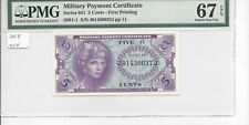 MPC Series 641  5 cents 1st printing    PMG 67EPQ  SUPERB GEM UNC