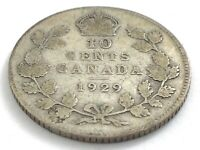 1929 Canada 10 Ten Cent Silver Dime Canadian Circulated George V Coin L510