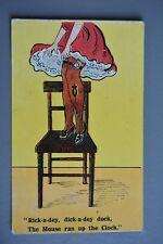 R&L Postcard: Vintage Comic Stocking Clad Leggy lady Leg Pocket watch Mouse