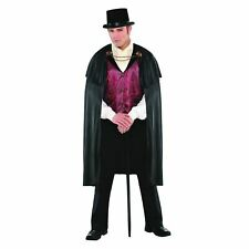 Mens Blood Count Vampire Costume Gothic Dracula Halloween Fancy Dress Outfit