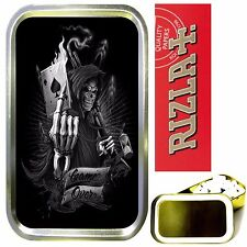 GRIM REAPER CARD SMOKING SET, GOLD 1oz TOBACCO TIN, RIZLA PAPERS & FILTERS
