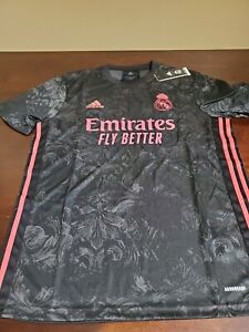 Adidas Areoready Real Madrid 2020/21 Black Third Away Emirates Fly Better Jersey