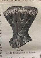 MODE ILLUSTREE SEWING PATTERN July 3, 1892 - Corset, lingerie
