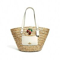 Coach (F72705) Natural Chalk Cherry Straw Tote Bag Handbag