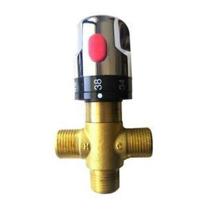 G1/2 Male 3 Way Brass Thermostatic Mixing Valve Shower Temperature Water Co J6W2