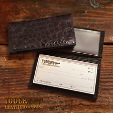 Black Alligator Checkbook Cover Amish Handmade - Genuine Alligator Check Holder