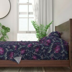Faux Embroidery Flowers Decor Satin 100% Cotton Sateen Sheet Set by Roostery