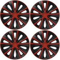 "4 x 15"" Alloy Look Red & Black Stripe Multi-Spoke Wheel Trims Hub Caps Covers"