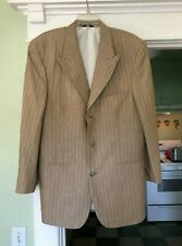 Karl Kani Tan Pinstripe Blazer Sport Coat Suit Jacket size 42 L EUC Lightweight