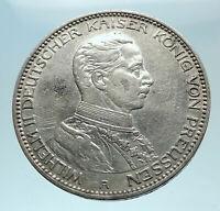 1914 GERMANY GERMAN STATES PRUSSIA WILHELM II Genuine Silver 3 Mark Coin i78595