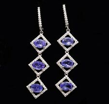 925 Sterling Silver Top Blue Violet Tanzanite and Zirconia Earrings