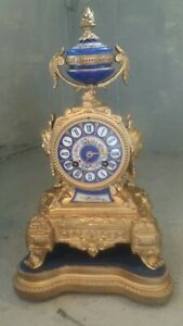 French Antique Striking , Porcelain Dial Mantel Clock