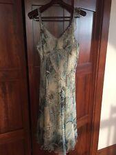 Un Jour Ailleurs Paisley Print Silk Dress And Matching Scarf Size 16 US 46 FR