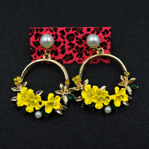New Fashion Betsey Johnson Rare Alloy Rhinestone Enamel Flower Earrings Jewelry