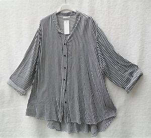 Lagenlook! Oversize Long-Tunika-Bluse, New Collection, Gr.48/50, schwarz/weiß