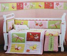 BUTTERFLIES 4 Pc Baby Girl Appliqued Cot Bedding + Bumper Set BRAND NEW