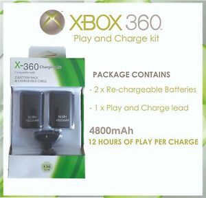 Xbox 360 Rechargeable Battery Pack x2 Controller Charger Dock Cable TWIN pack