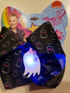 NEW JOJO SIWA black HALLOWEEN HAIR BOW GHOSTS PINK GIRLS WOMEN LIGHTS UP BLINKS!